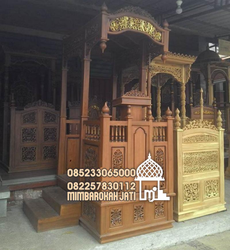 Mimbar Kayu Ornamen Ukiran Masjid Besar Sidoarjo