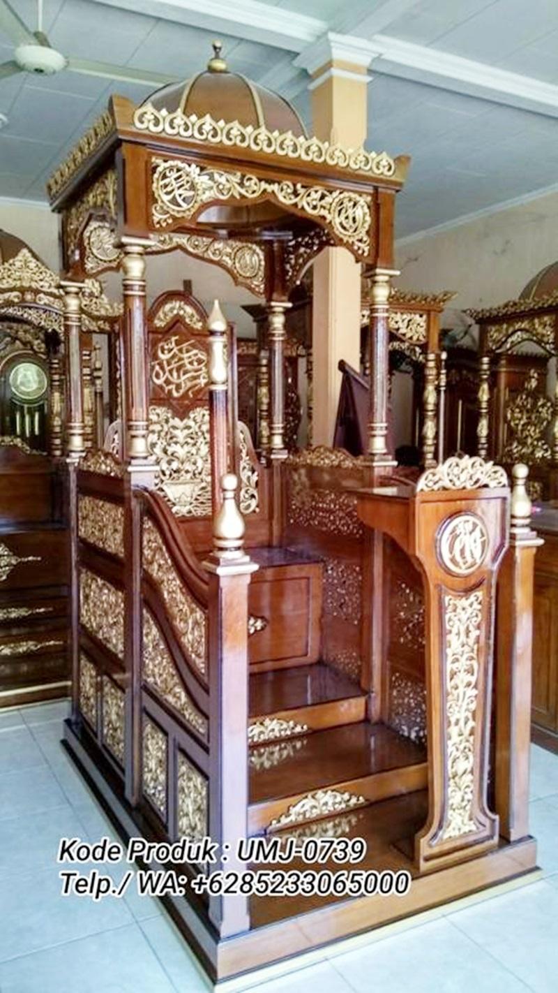 Mimbar Sunnah Ornamen CNC Masjid Agung Cianjur
