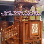Mimbar Podium Ornamen Ukiran Masjid Besar Unaaha