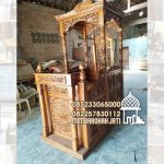 Mimbar Kayu Ornamen Ukiran Masjid Agung Medan
