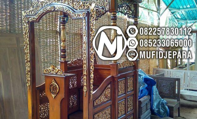 Podium Mimbar Ornamen Ukiran Masjid Wilayah Pangkal Pinang