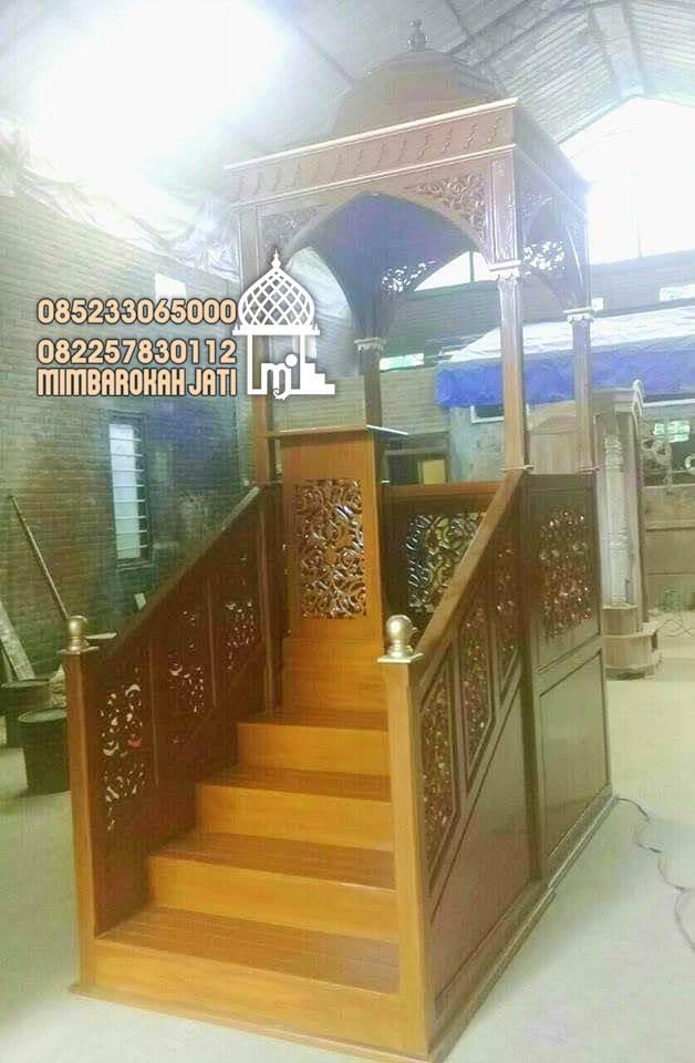 Mimbar Jati Ornamen Arabic Masjid Besar Pekanbaru