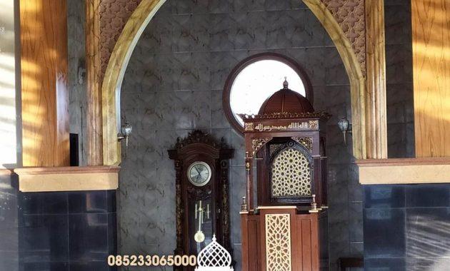Mimbar Jati Ornamen CNC Masjid Daerah Medan