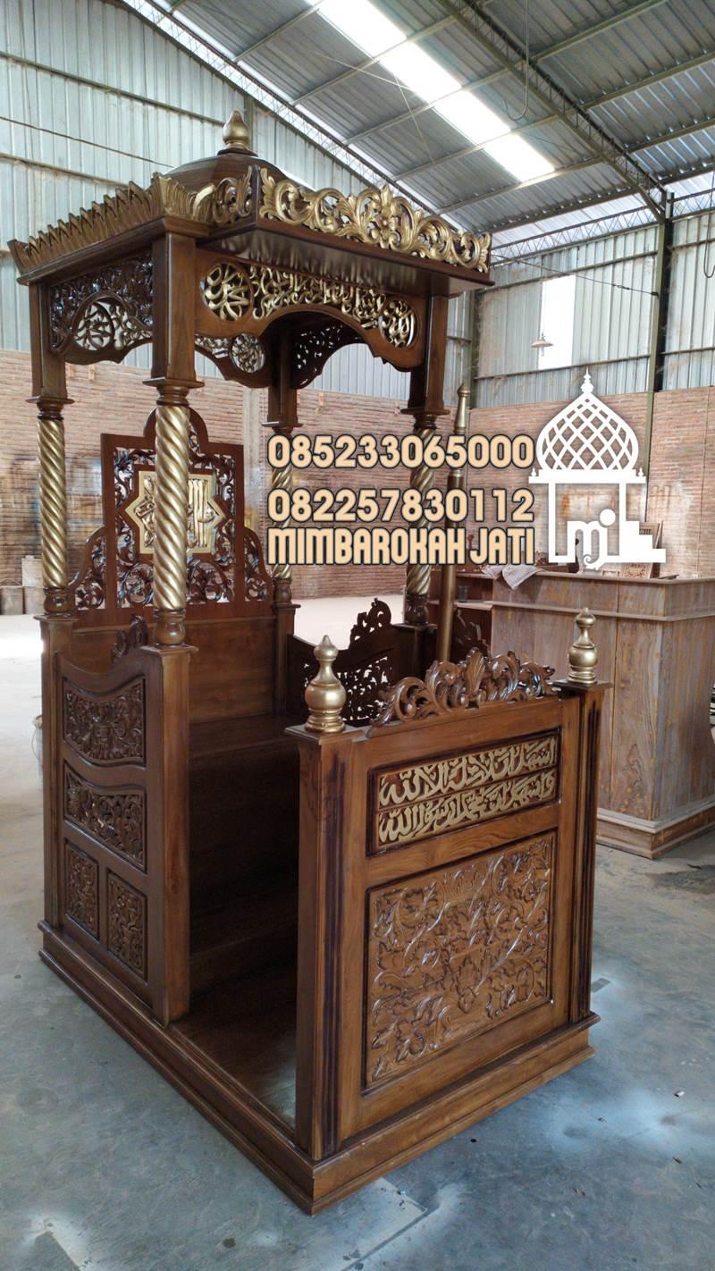 Mimbar Masjid Ornamen Ukiran Masjid Besar Sukadana