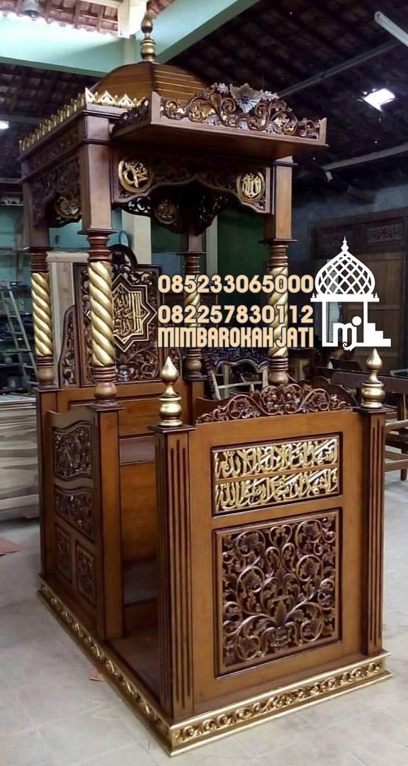 Podium Mimbar Ornamen Ukiran Masjid Kota Lampung Selatan